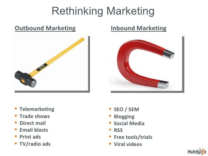 Rethinking Marketing Outbound Marketing Inbound Marketing <ul><li>SEO / SEM </li></ul><ul><li>Blogging </li></ul><ul><li>S...