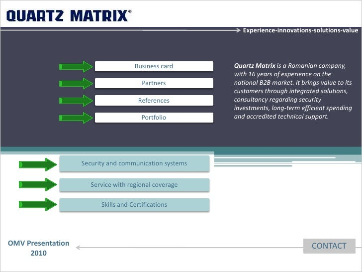 Experience-innovations-solutions-value                                     Business card      Quartz Matrix is a Romanian ...
