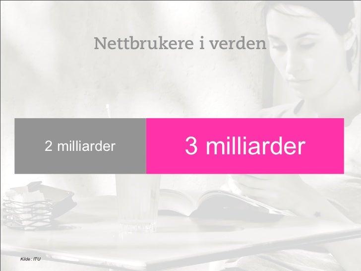 Nettbrukere i verden             2 milliarder      3 milliarderKilde: ITU