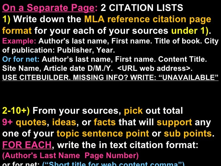 On a Separate Page :  2  CITATION LISTS  1)  Write down the  MLA reference citation page format  for your each of your sou...