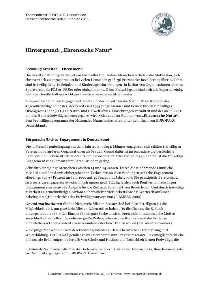 """Themendienst EUROPARC DeutschlandDossier Ehrensache Natur, Februar 2011Hintergrund: """"Ehrensache Natur""""Freiwillig arbeiten ..."""