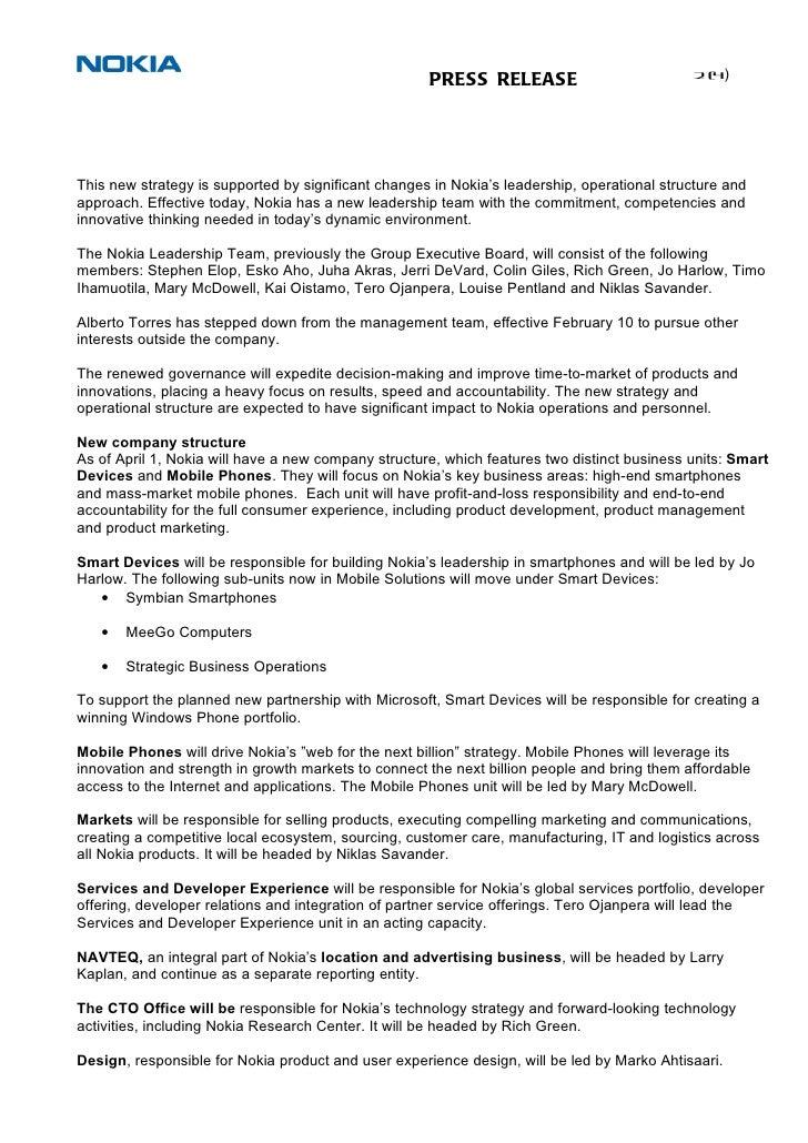nokia strategy press release nokia microsoft partnership