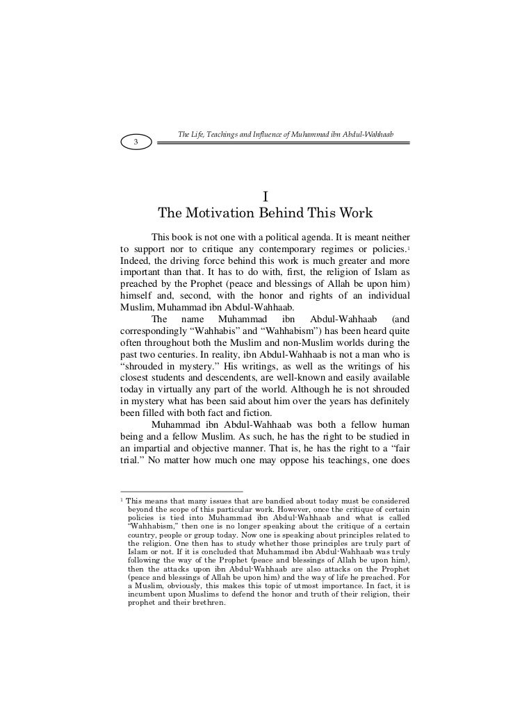 The Life, Teachings and Influence of Muhammad ibn Abdul-Wahhaab      3                           I            The Motivati...