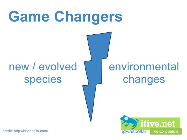 @vascellari Game Changers credit: http://briansolis.com/ new / evolved species environmental changes