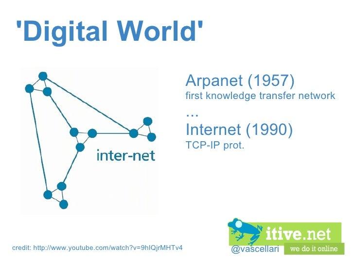 @vascellari 'Digital World' Arpanet (1957) first knowledge transfer network ... Internet (1990) TCP-IP prot. credit: http:...