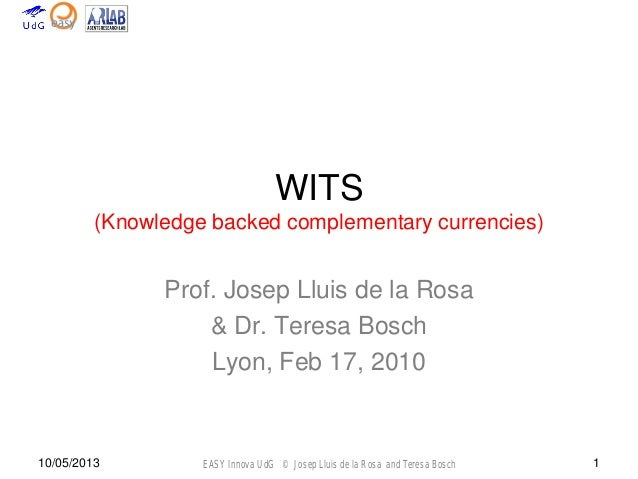 EASY Innova UdG © Josep Lluis de la Rosa and Teresa Bosch10/05/2013 1WITS(Knowledge backed complementary currencies)Prof. ...