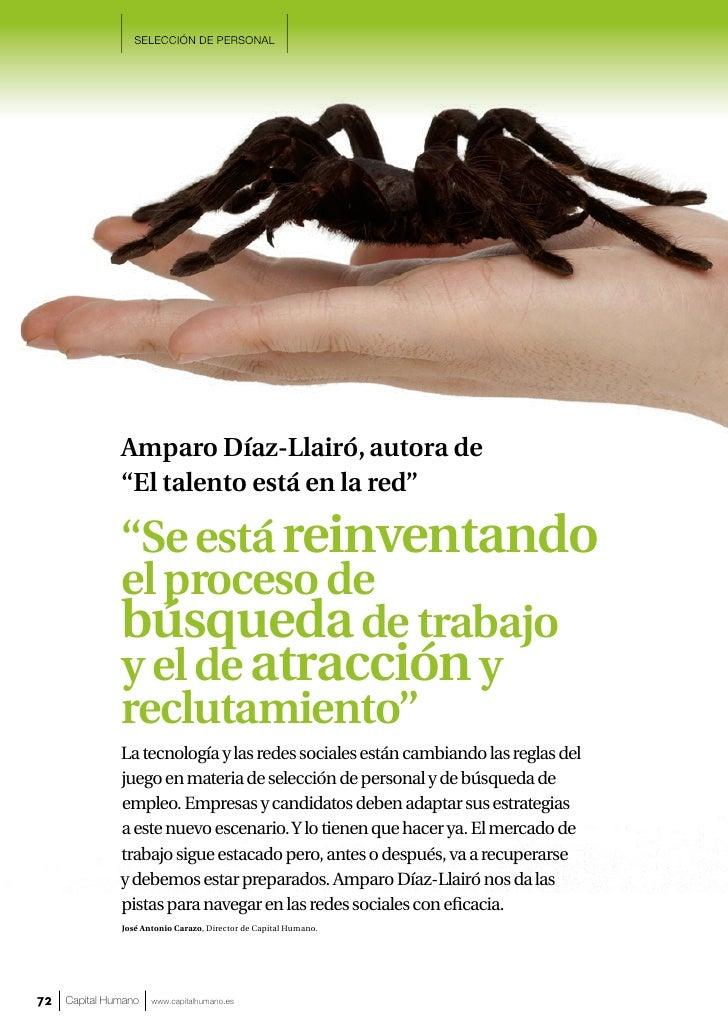 """SELECCIÓN DE PERSONAL               Amparo Díaz-Llairó, autora de               """"El talento está en la red""""               ..."""