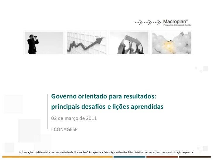 Governo orientado para resultados:                          principais desafios e lições aprendidas                       ...