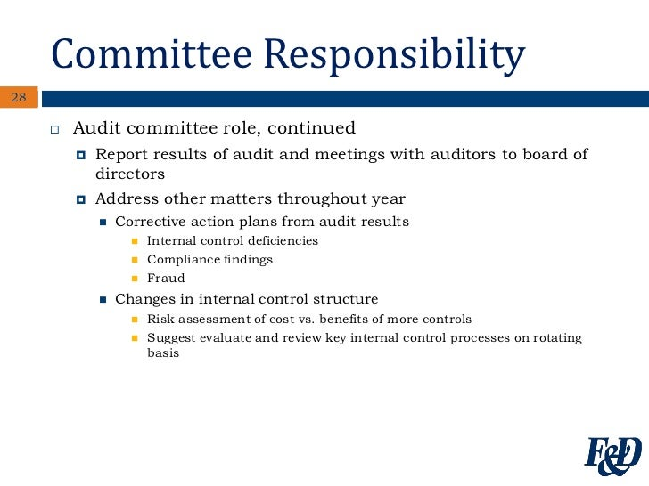 role of an audit committee especially for Audit committee duties and best practices fenwick& west 2 on addressing the management responsibilities of a company's representatives however.