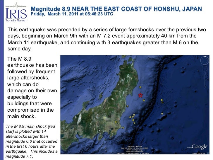 Magnitude 8.9 NEAR THE EAST COAST OF HONSHU, JAPAN              Friday, March 11, 2011 at 05:46:23 UTC This...