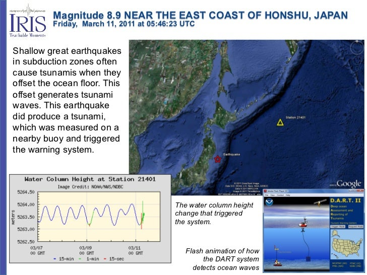 Magnitude 8.9 NEAR THE EAST COAST OF HONSHU, JAPAN          Friday, March 11, 2011 at 05:46:23 UTCShallow great...