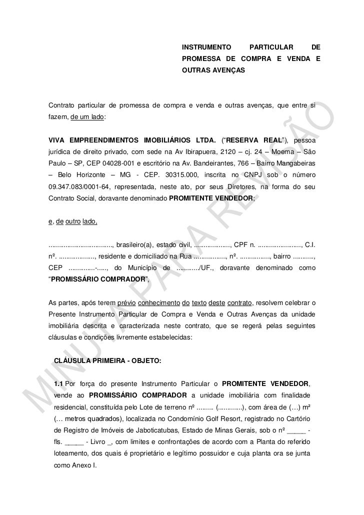 INSTRUMENTO PARTICULAR DE PROMESSA DE COMPRA E VENDA E OUTRAS AVENÇAS<br />Contrato particular de promessa de compra e ven...