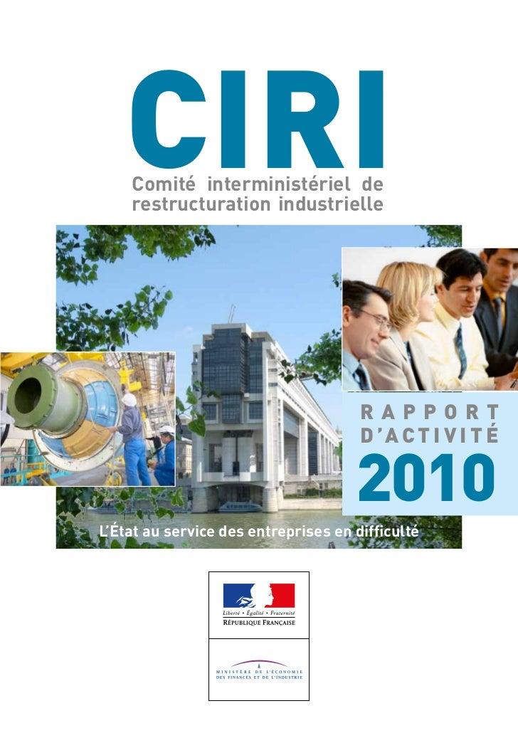 CIRI    Comité interministériel de    restructuration industrielle                                      RAPPORT           ...