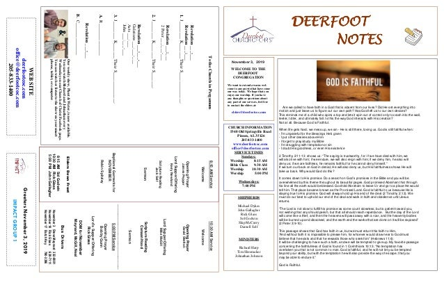 DEERFOOTDEERFOOTDEERFOOTDEERFOOT NOTESNOTESNOTESNOTES November 3, 2019 GreetersNovember3,2019 IMPACTGROUP1 WELCOME TO THE ...