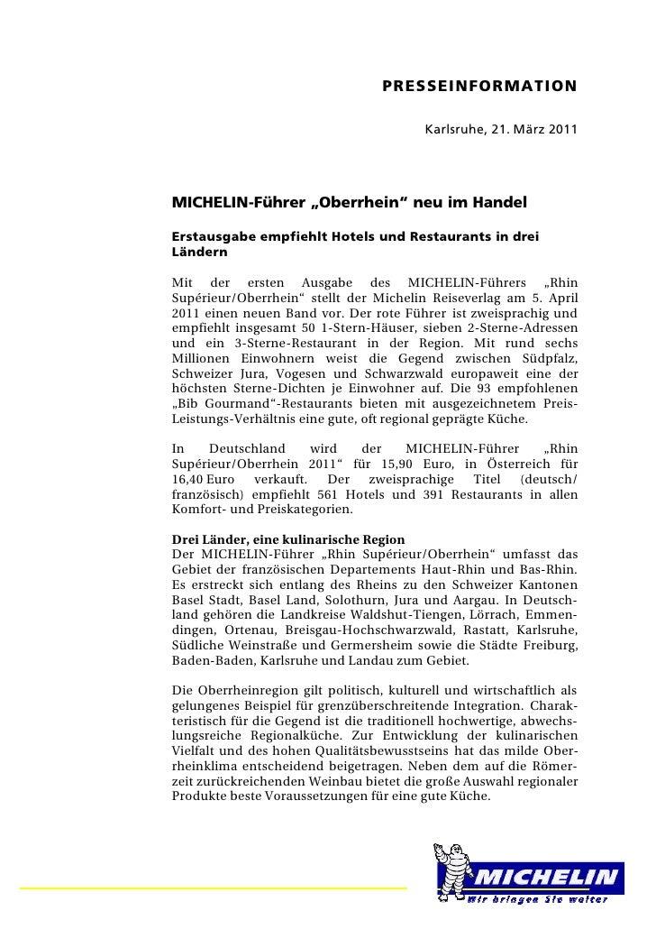 """PRESSEINFORMATION                                          Karlsruhe, 21. März 2011MICHELIN-Führer """"Oberrhein"""" neu im Hand..."""