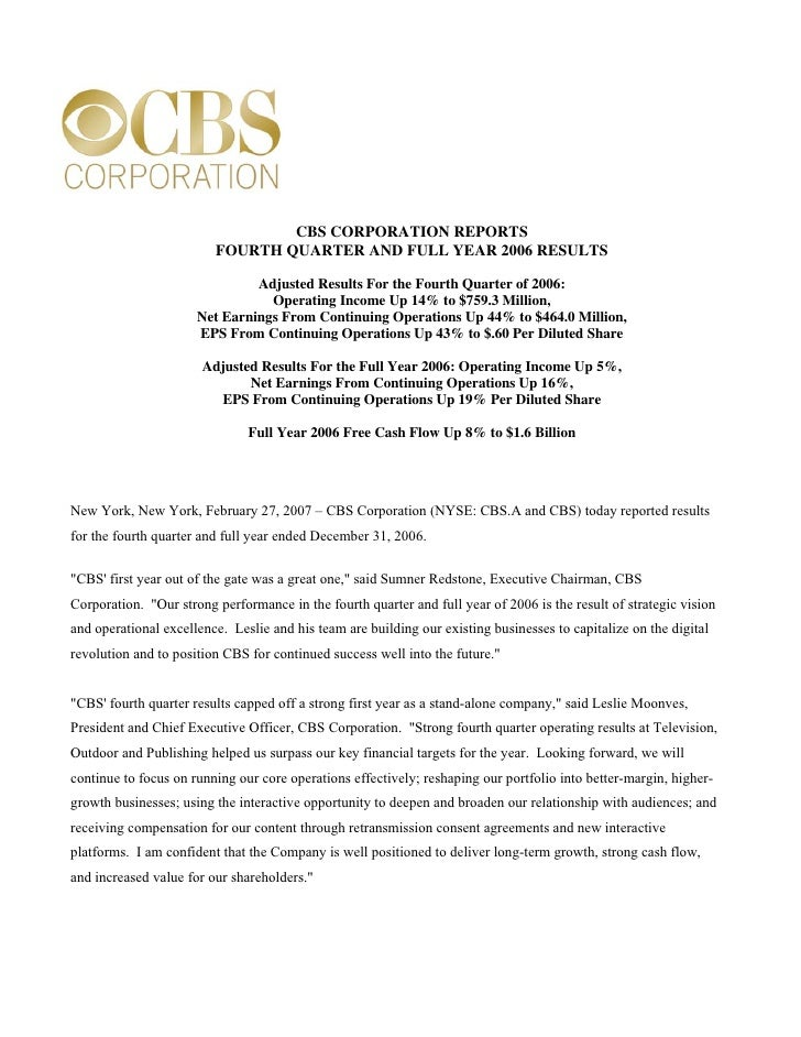 CBS CORPORATION REPORTS                          FOURTH QUARTER AND FULL YEAR 2006 RESULTS                                ...