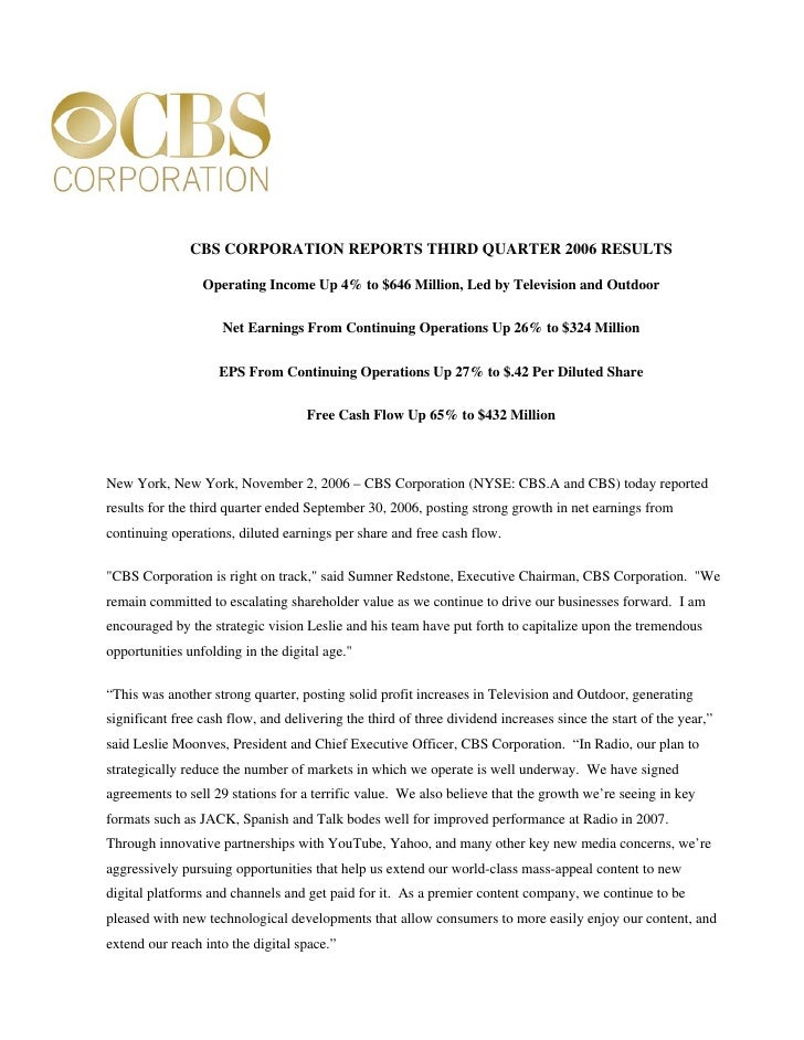 CBS CORPORATION REPORTS THIRD QUARTER 2006 RESULTS                   Operating Income Up 4% to $646 Million, Led by Televi...