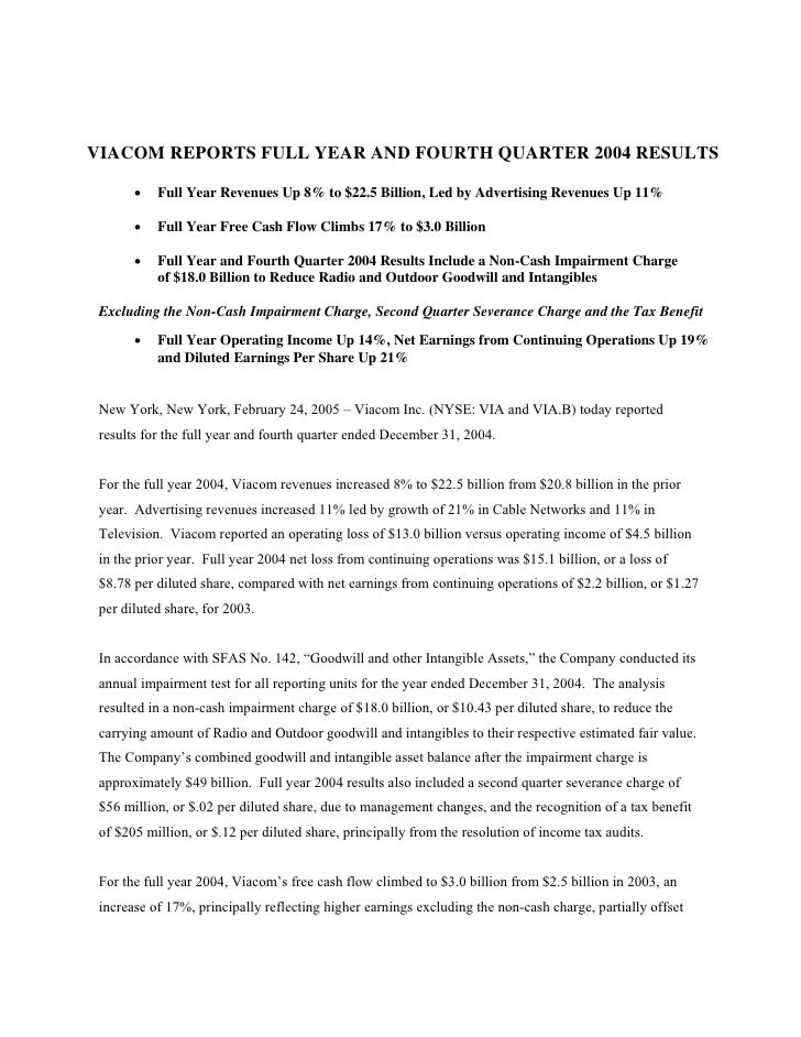 VIACOM REPORTS FULL YEAR AND FOURTH QUARTER 2004 RESULTS         •   Full Year Revenues Up 8% to $22.5 Billion, Led by Adv...