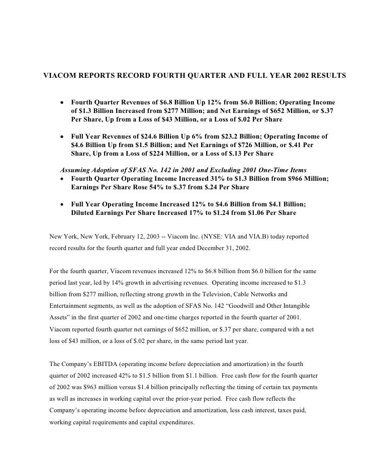 VIACOM REPORTS RECORD FOURTH QUARTER AND FULL YEAR 2002 RESULTS        ·   Fourth Quarter Revenues of $6.8 Billion Up 12% ...