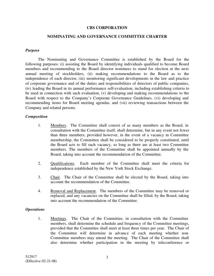 CBS CORPORATION               NOMINATING AND GOVERNANCE COMMITTEE CHARTER   Purpose          The Nominating and Governance...