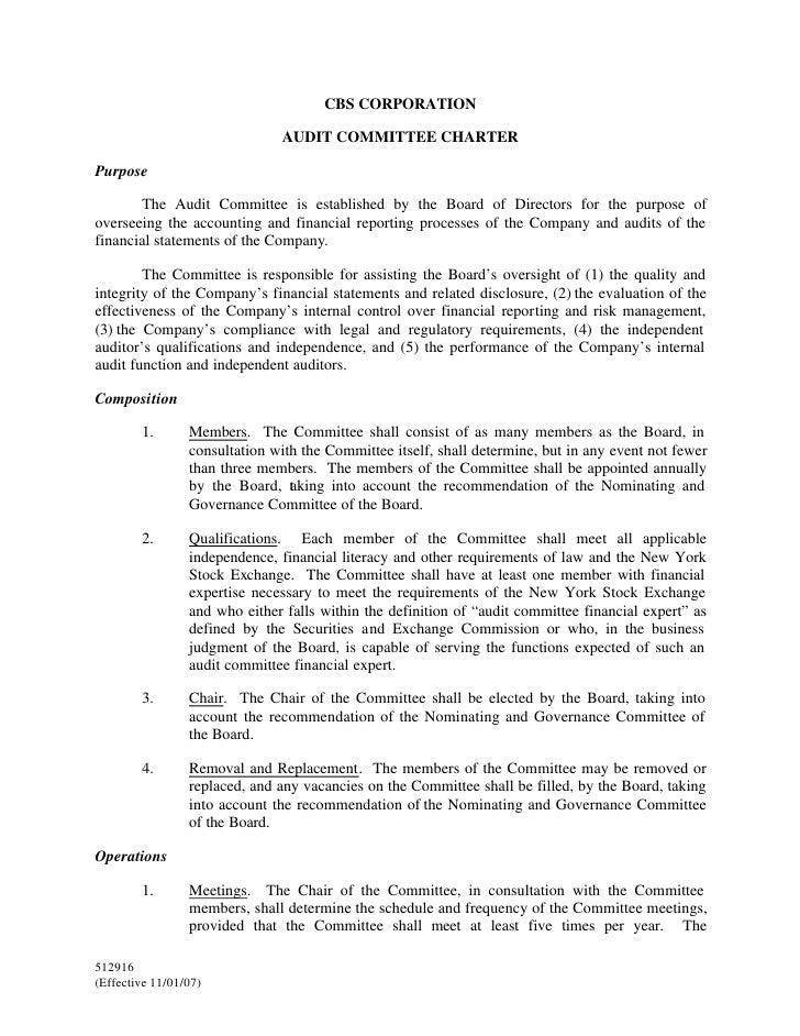 CBS CORPORATION                                 AUDIT COMMITTEE CHARTER  Purpose         The Audit Committee is establishe...