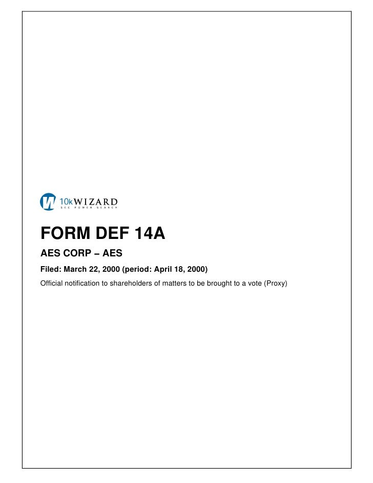 FORM DEF 14A AES CORP − AES Filed: March 22, 2000 (period: April 18, 2000) Official notification to shareholders of matter...