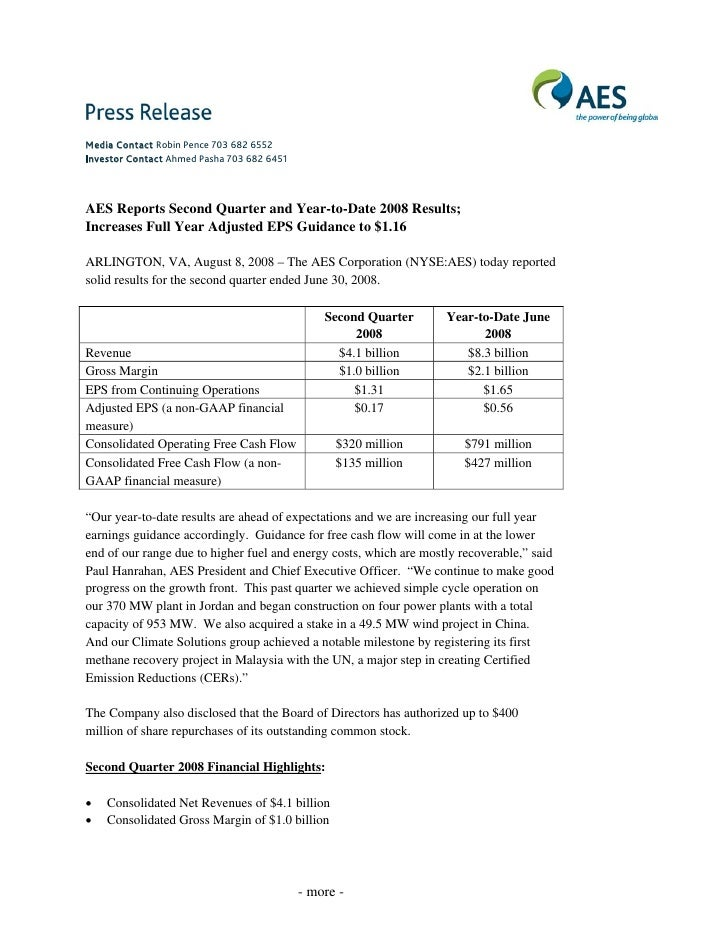 Media Contact Robin Pence 703 682 6552 Investor Contact Ahmed Pasha 703 682 6451    AES Reports Second Quarter and Year-to...
