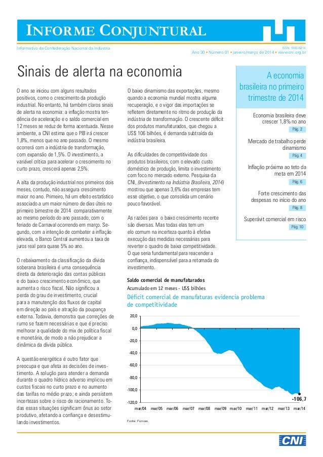 Ano 30 Número 01 janeiro/março de 2014 www.cni.org.br Economia brasileira deve crescer 1,8% no ano Mercado de trabalho per...