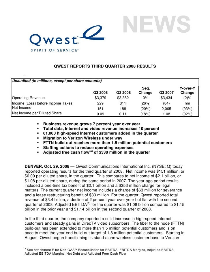 QWEST REPORTS THIRD QUARTER 2008 RESULTS       . Unaudited (in millions, except per share amounts)                        ...
