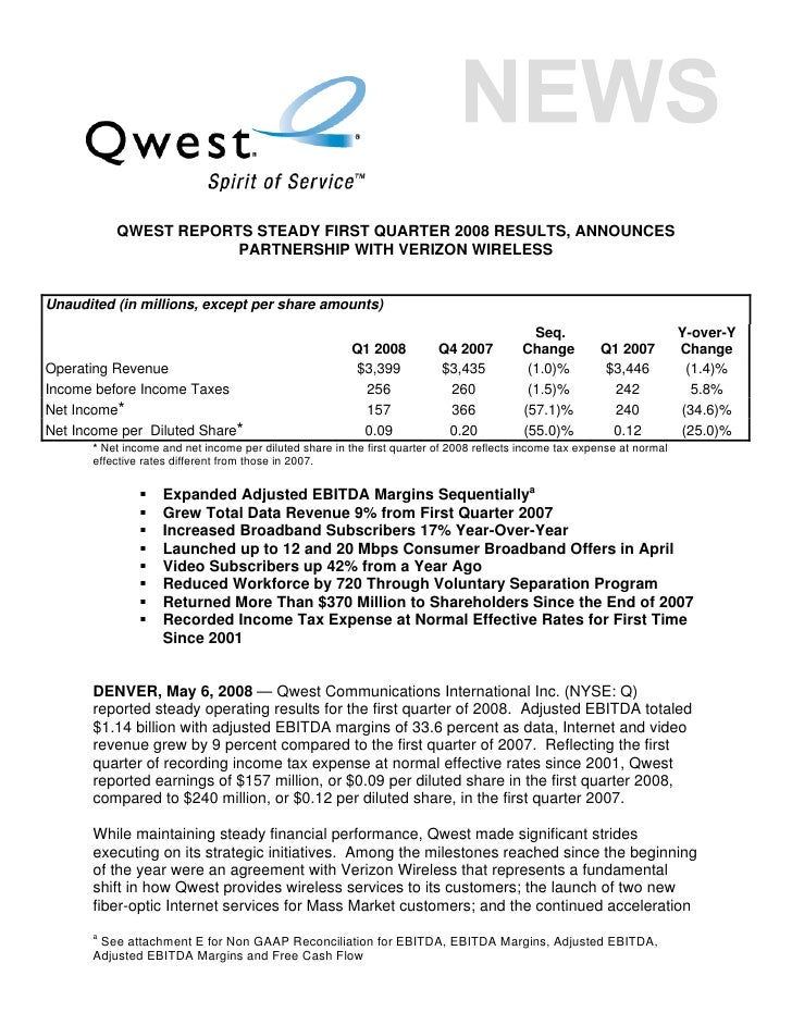 QWEST REPORTS STEADY FIRST QUARTER 2008 RESULTS, ANNOUNCES                       PARTNERSHIP WITH VERIZON WIRELESS   Unaud...