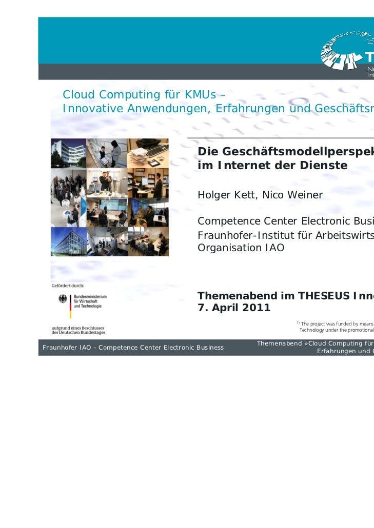 Cloud Computing für KMUs –     Innovative Anwendungen, Erfahrungen und Geschäftsmodelle                                   ...