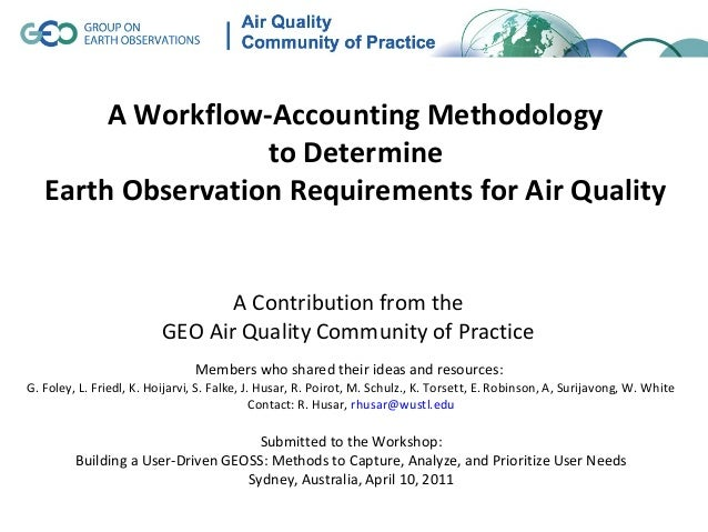 A Workflow-Accounting Methodology                   to Determine   Earth Observation Requirements for Air Quality         ...