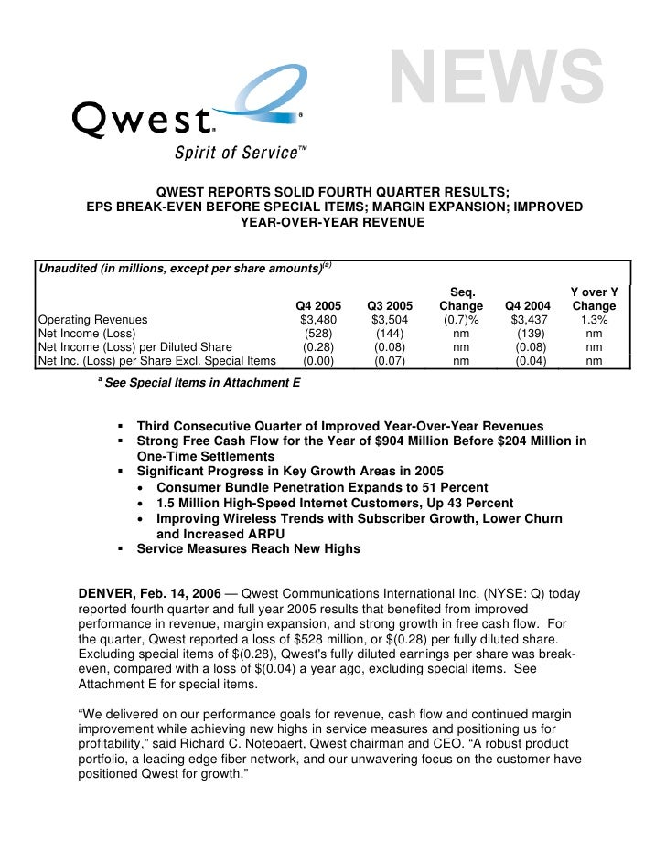 QWEST REPORTS SOLID FOURTH QUARTER RESULTS;          EPS BREAK-EVEN BEFORE SPECIAL ITEMS; MARGIN EXPANSION; IMPROVED      ...