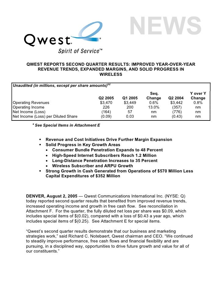 QWEST REPORTS SECOND QUARTER RESULTS: IMPROVED YEAR-OVER-YEAR           REVENUE TRENDS, EXPANDED MARGINS, AND SOLID PROGRE...