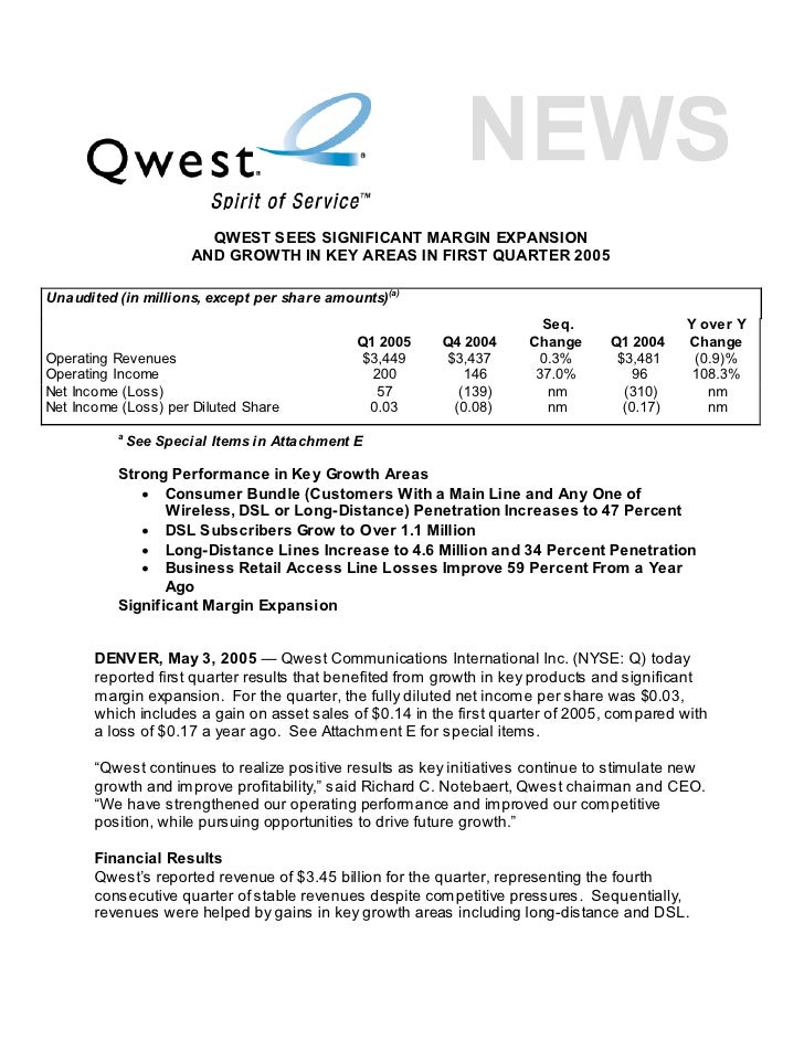 QWEST SEES SIGNIFICANT MARGIN EXPANSION                        AND GROWTH IN KEY AREAS IN FIRST QUARTER 2005  Unaudited (i...