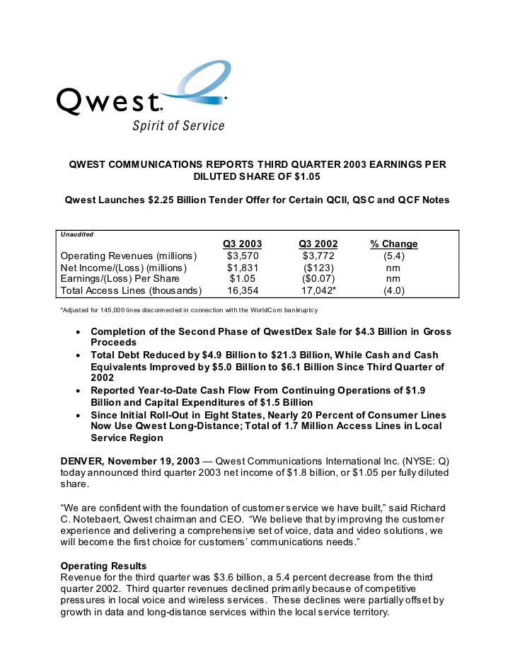QWEST COMMUNICATIONS REPORTS THIRD QUARTER 2003 EARNINGS PER                      DILUTED SHARE OF $1.05   Qwest Launches ...