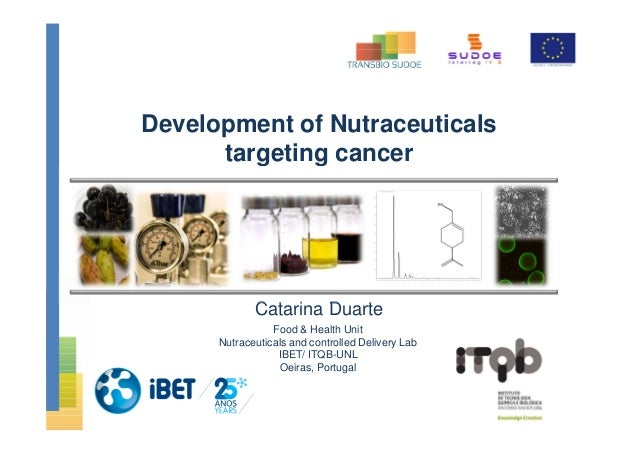 Development of Nutraceuticals targeting cancer Catarina Duarte Food & Health Unit Nutraceuticals and controlled Delivery L...