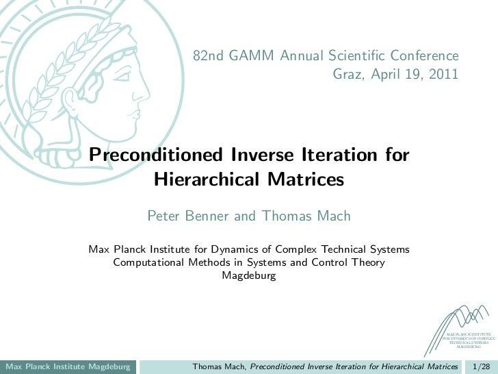 82nd GAMM Annual Scientific Conference                                                        Graz, April 19, 2011         ...