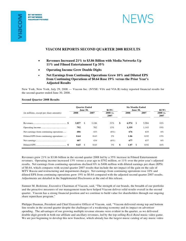 VIACOM REPORTS SECOND QUARTER 2008 RESULTS                         •           Revenues Increased 21% to $3.86 Billion wit...