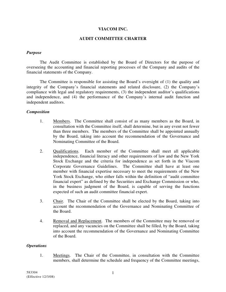 VIACOM INC.                                 AUDIT COMMITTEE CHARTER   Purpose         The Audit Committee is established b...