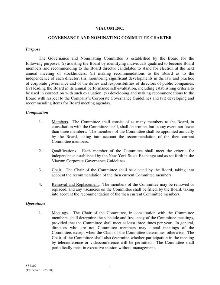 VIACOM INC.                 GOVERNANCE AND NOMINATING COMMITTEE CHARTER  Purpose          The Governance and Nominating Co...