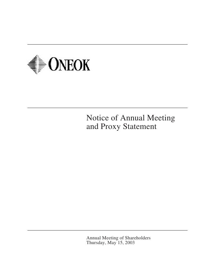 Notice of Annual Meeting and Proxy Statement     Annual Meeting of Shareholders Thursday, May 15, 2003