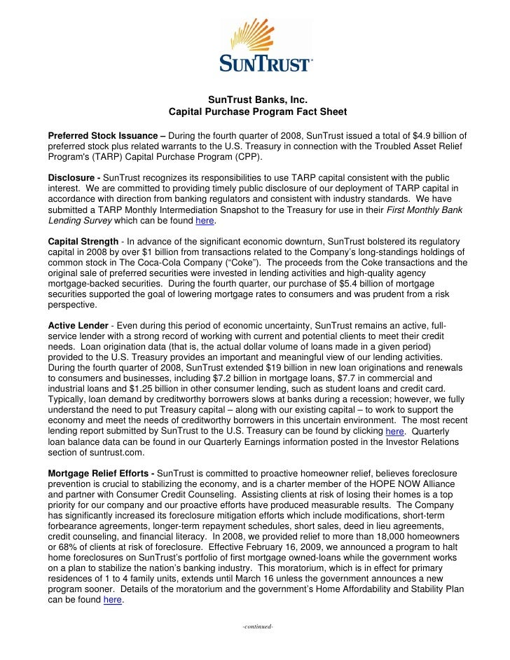 SunTrust Banks, Inc.                              Capital Purchase Program Fact Sheet  Preferred Stock Issuance – During t...