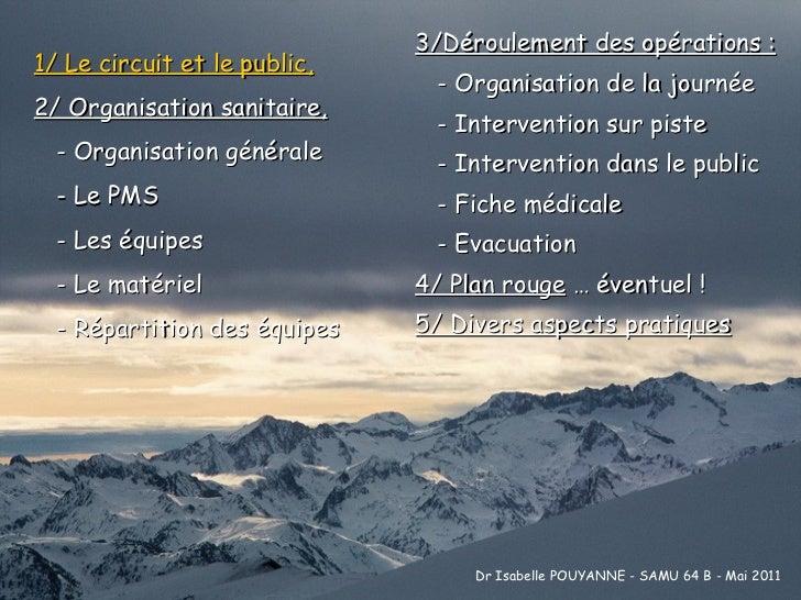 1/ Le circuit et le public, 2/ Organisation sanitaire,   - Organisation générale   - Le PMS   - Les équipes   - Le matérie...