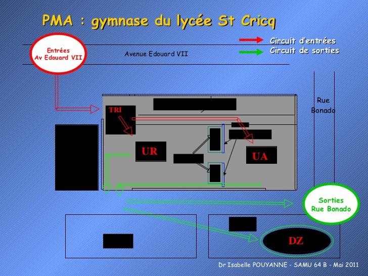PMA : gymnase du lycée St Cricq Entrées Av Edouard VII Sorties Rue Bonado Dr Isabelle POUYANNE - SAMU 64 B - Mai 2011 Circ...