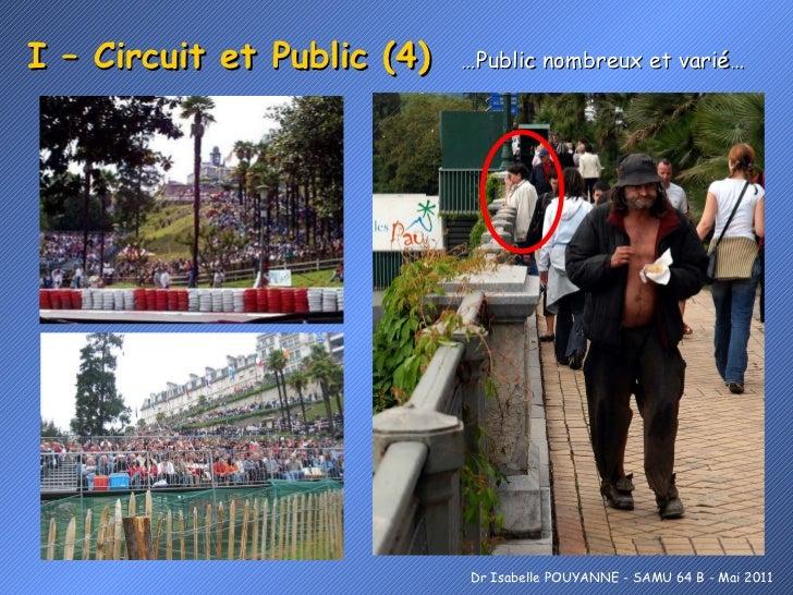 I – Circuit et Public (4)  …Public nombreux et varié… Dr Isabelle POUYANNE - SAMU 64 B - Mai 2011