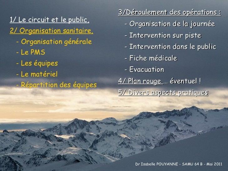 3/Déroulement des opérations : - Organisation de la journée - Intervention sur piste - Intervention dans le public - Fiche...