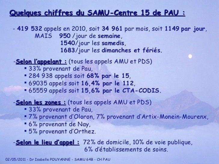 Quelques chiffres du SAMU-Centre 15 de PAU : -  419 532  appels en 2010, soit  34 961  par mois, soit  1149   par jour , M...