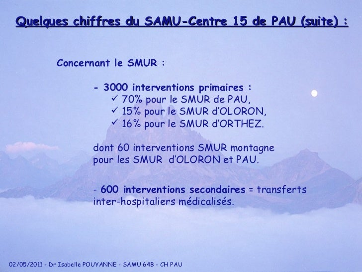 <ul><li>Concernant le SMUR : </li></ul><ul><li>- 3000 interventions primaires : </li></ul><ul><ul><ul><ul><li>70% pour le ...