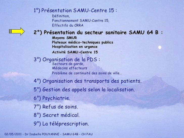1°) Présentation SAMU-Centre 15 : Définition, Fonctionnement SAMU-Centre 15, Effectifs du CRRA 2°) Présentation du secteur...